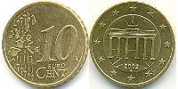 10 Eurocent Repubblica Federale di Germania (1990 - ) Oro nordico