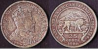25 Cent British East Africa (1895-1920) Silver Edward VII (1841-1910)