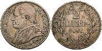 2 Lira Papal States (752-1870) Silver Pope Pius IX (1792- 1878)