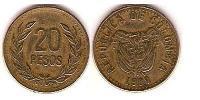 20 Peso Republic of Colombia (1886 - ) Copper-Nickel