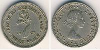 1 Threepence Rhodesia (1965 - 1979) Rame-Nichel Elisabetta II (1926-)