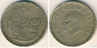 5000 Lira Turkey (1923 - ) Copper-Nickel