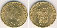 10 Гульден Нидерланды Золото