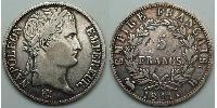 5 Franc First French Empire (1804-1814) Silver Napoleon Bonaparte  (1769 - 1821)