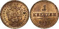 1 Kreuzer Imperio austríaco (1804-1867) Cobre Franz Joseph I (1830 - 1916)