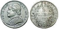 1 Lira Kirchenstaat (752-1870)  Pius IX (1792- 1878)