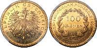 100 Krone First Austrian Republic (1918-1934) Gold