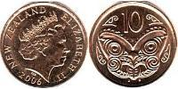 10 Cent New Zealand Copper plated steel