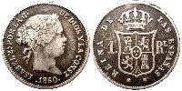 Real Kingdom of Spain (1814 - 1873) Silver Isabella II of Spain (1830- 1904)