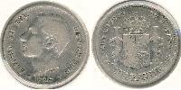1 Peseta Kingdom of Spain (1874 - 1931) Silver