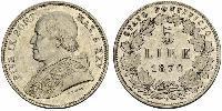 5 Lira États pontificaux (752-1870) Argent Pie IX (1792- 1878)