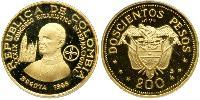 200 Peso Republic of Colombia (1886 - ) Gold