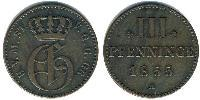 3 Pfennig States of Germany Cuivre
