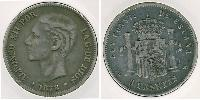 5 Peseta Kingdom of Spain (1874 - 1931) Silver