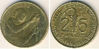 25 Franc African Union Aluminium-Bronzo 