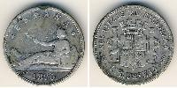 1 Peseta Kingdom of Spain (1814 - 1873) Silver