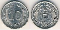 10 Centavo Ecuador Nickel plated steel