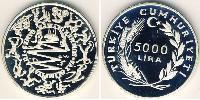 5000 Lira Turkey (1923 - ) Silver