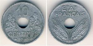 10 Centime Vichy France (1940-1944) Zinc