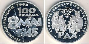 100 Franc Fünfte Französische Republik (1958 - ) Silber
