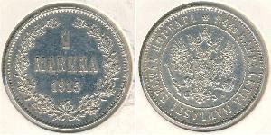 1 Mark Russian Empire (1720-1917) / Finland (1809 - 1917) Silver Nikolay II (1868-1918)