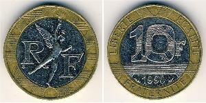 10 Franc French Fifth Republic (1958 - ) Bimetal