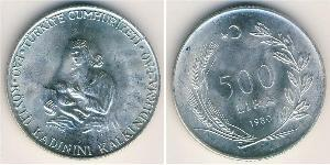 500 Lira Turquía (1923 - ) Plata