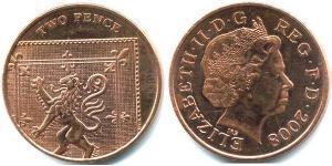 2 Penny United Kingdom (1922-) Steel/Copper Elizabeth II (1926-)