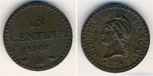 1 Sent French Second Republic (1848-1852) Copper