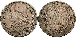 2 Lira Stato Pontificio (752-1870) Argento Papa Pio IX (1792- 1878)