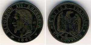 1 Sent Secondo Impero francese (1852-1870) Rame Napoleone III (1808-1873)