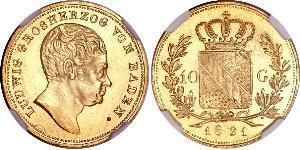 10 Gulden Grand-duché de Bade (1806-1918) Or Louis Ier de Bade(1763 - 1830)