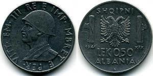 1/2 Lek Albanian Kingdom (1939-1943) Rostfreier Stahl Viktor Emanuel III. (Italien) (1869 - 1947)