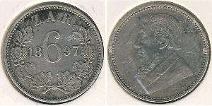 1 Sixpence Südafrika Silber