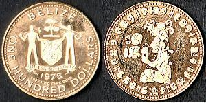 100 Dollar Belize (1981 - ) Gold