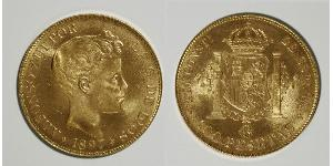 100 Peseta Kingdom of Spain (1874 - 1931) Oro Alfonso XIII of Spain (1886 - 1941)