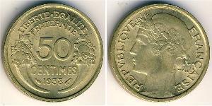 50 Sent French Third Republic (1870-1940)  Brass