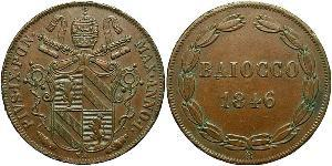 1 Baiocco Vatican (1926-) Copper Pope Pius IX (1792- 1878)