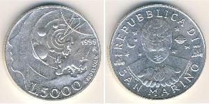 5000 Lira San Marino Argento