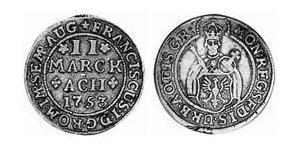 2 Marck Reichsstadt Aachen (1306 - 1801) Silber Franz I. Stephan (HRR)(1708-1765)
