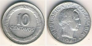 10 Centavo Republic of Colombia (1886 - ) Silver