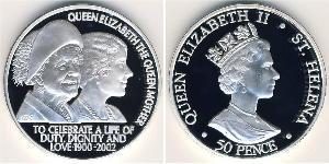 50 Penny  Argento Elisabetta II (1926-)
