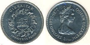 25 Penny Gibraltar Copper/Nickel Elizabeth II (1926-)