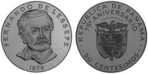 50 Centesimo Panama Kupfer/Nickel Ferdinand de Lesseps(1805 – 1894)