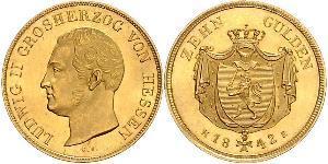 10 Gulden Hesse-Darmstadt (1806 - 1918) Oro Luis II de Hesse-Darmstadt