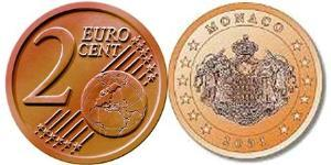 2 Eurocent Monaco Copper plated steel