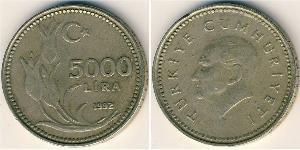 5000 Lira Turkey (1923 - ) Copper-Nickel