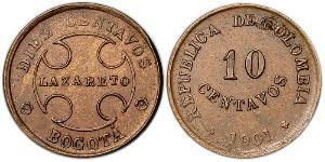 10 Centavo Republic of Colombia (1886 - ) Copper