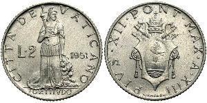 2 Лира Ватикан (1926-) Алюминий Пий XII  (1876 - 1958)