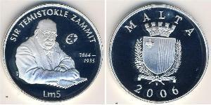 5 Lira Malta Argento